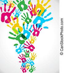 multicolor, schizzo, diversità, mani