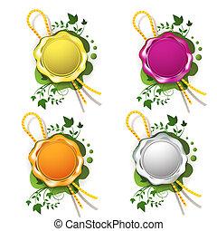 Multicolor sealing wax with decorative plant