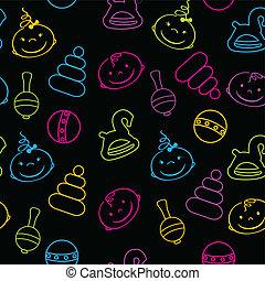 multicolor, seamless, patrón, con, bebes, caras, y, juguetes