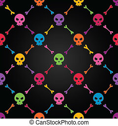 Multicolor seamless pattern with skulls. EPS 8 vector illustration. Contains transparency effects.