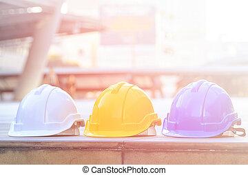 multicolor, segurança, construção, proteção, capacete