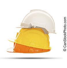 multicolor, segurança, construção, proteção, capacete, isolado, fundo branco