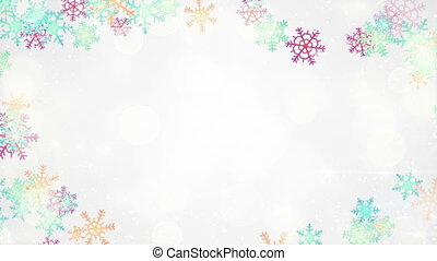 multicolor snowflakes frame loopable background