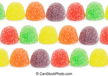 Multicolor soft jelly candies arranged on white background