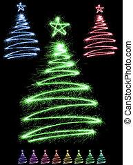 multicolor sparkler trees