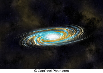 Multicolor Spiral Galaxy in Deep Cosmos, against the backdrop of nebulae