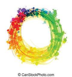 Multicolor splashed watercolor circle