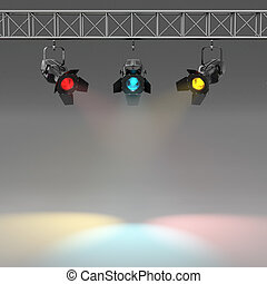 Multicolor spotlights illuminated wall. Space for text. 3d