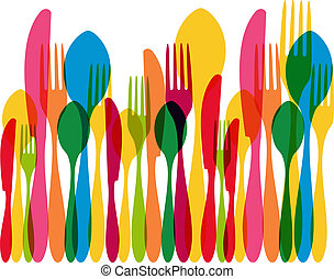 Colorful transparency cutlery seamless pattern. This EPS10 vector illustration is layered for easy manipulation and custom coloring