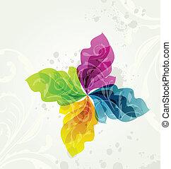 Multicolor transparent floral background