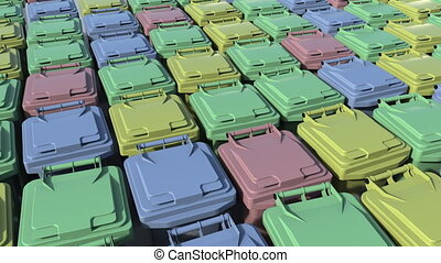 Multicolor trash containers. Loopable animation - Rows of...
