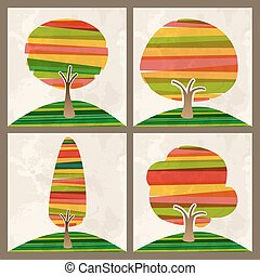 Multicolored transparent banded tree set. EPS10 file version. This illustration contains transparencies and is layered for easy manipulation and custom coloring