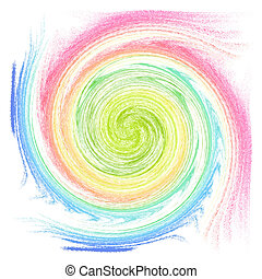 Multicolor whirl isolated on white. Abstract backdrop. ...