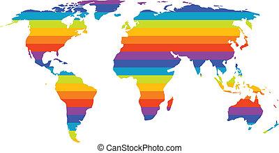 multicolor world map in gay pride concept