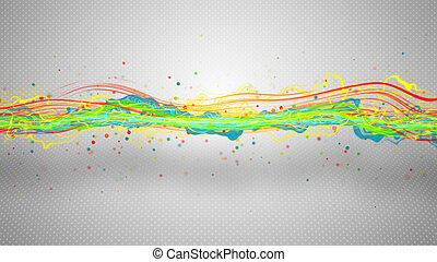 multicolore, énergie, vague, résumé, illustration