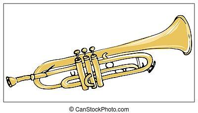 multicolore, carte, illustration., trumpet., vecteur, main, dessiné, salutation