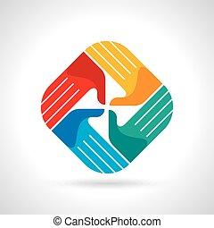 multicolore, collaboration, symbole., mains