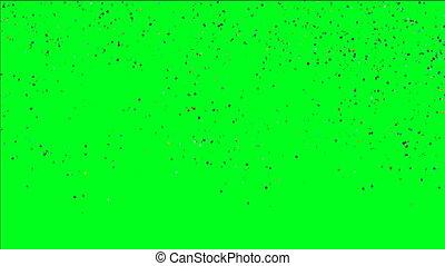 multicolore, confetti, tomber, sur, vert, écran
