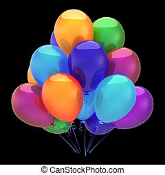 multicolore, décoration, fêtede l'anniversaire, ballons, heureux