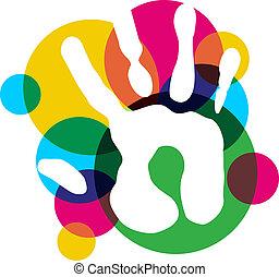 multicolore, diversité, isolé, main