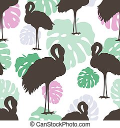 multicolore, flamants rose, pattern., seamless