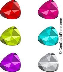multicolore, gemme, ensemble