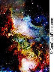 multicolore, informatique, loup, fire., graphique, espace, magique, collage.