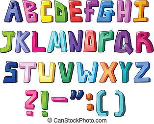 multicolore, lettres