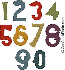 multicolore, nombres, manuscrit