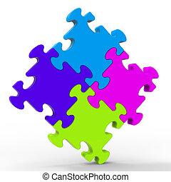 multicolore, puzzle, carrée, spectacles, unité