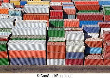 multicolore, récipients, pour, cargaison, transport, sur, bateau