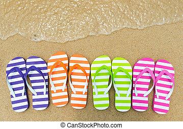multicolore, sandales, plage