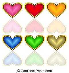 multicolore, set, hearts.