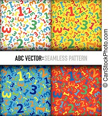 Multicolored 123 number background seamless set
