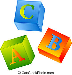 abc - multicolored abc cubes over white background