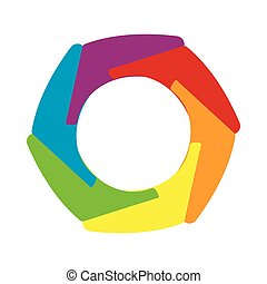 Multicolored abstract circle icon, cartoon style