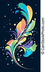 Abstract multicolored background, floral elements on black