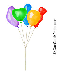 Multicolored air balloons isolated on white background