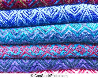 Andean blankets in a market, La Paz, Bolivia. - Multicolored...