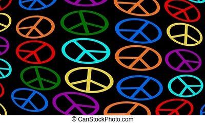 Multicolored anti-war symbole moving on black background,...