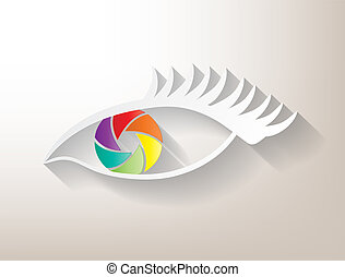 Multicolored aperture eye with big shadow