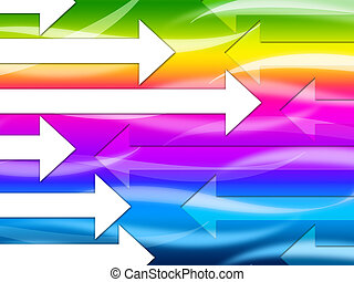 Multicolored Arrows Background Shows Colorful And Direction