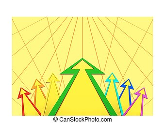 Multicolored arrows on yellow background