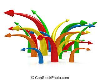 Multicolored Arrows - Computer generated image - Multicolor...