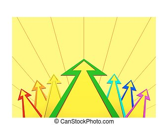 Multicolored arrows with a stroke on yellow background