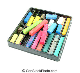 Multicolored artist's pastels (chalk) on white background