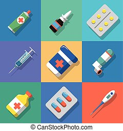 Multicolored background Medicine and drugs icons set with ...