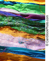 multicolored background of many fabrics