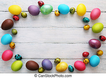 Multicolored Background with eggs. Top view