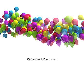 multicolored, balões, cidade, festival.